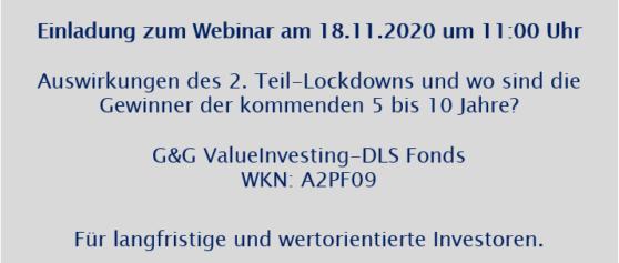 Einladung zum Webinar am 18.11.2020 um 11:00 Uhr